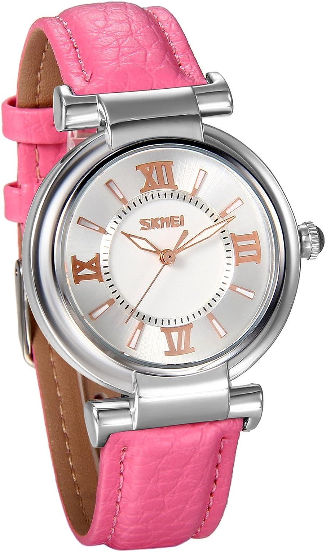 JewelryWe Reloj de Mujer Correa de Cuero, Retro Sencillo con Números Romanos, Casual Reloj de Pulsera Cuarzo para Chicas, 3 Colores para el Verano 2017