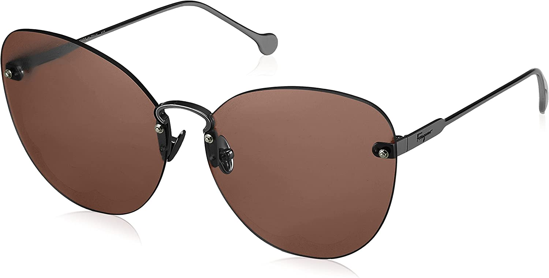 Sunglasses Salvatore Ferragamo Sf 178 S Fiore 067 Shiny Gunmetal Maple Brown At Amazon Women S Clothing Store