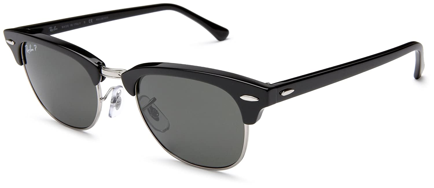 10afb21c12bbb Amazon.com  Ray-Ban CLUBMASTER II - BLACK Frame CRYSTAL GREEN POLARIZED  Lenses 49mm Polarized  Clothing