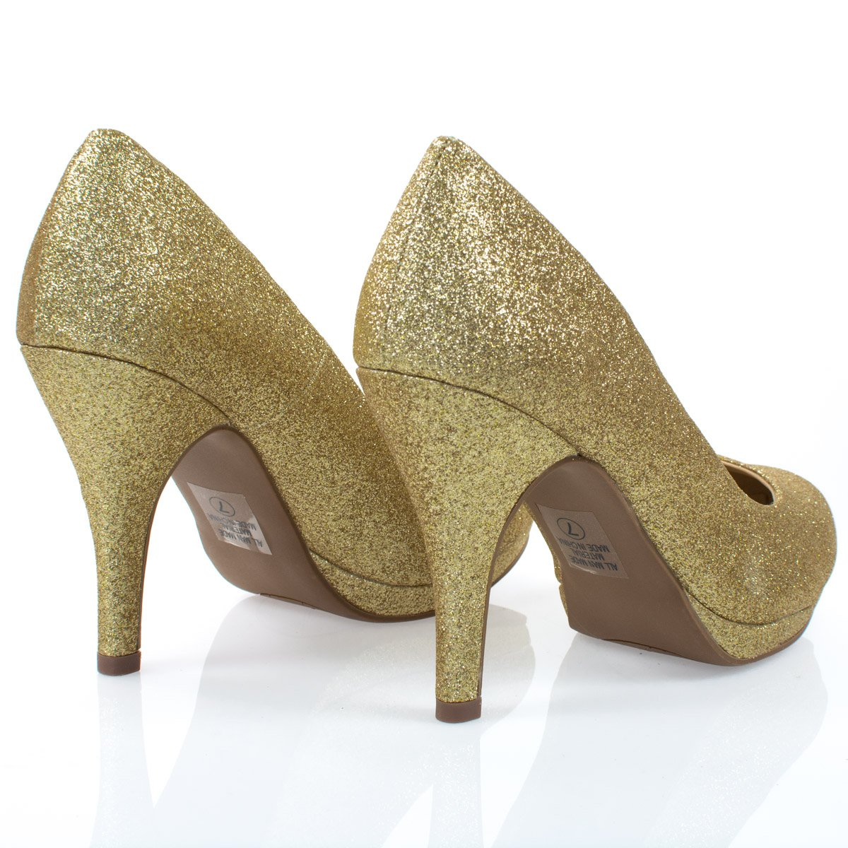 Women's Classic Dress Pump W Extra Cushioned in Sole Round Toe & Platform,Goldglt,8 by City Classified (Image #4)