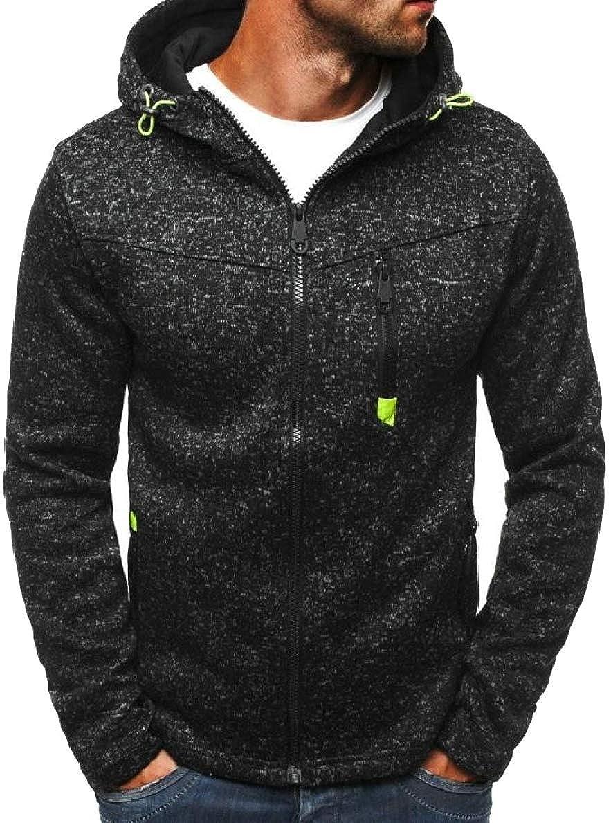 FLCH+YIGE Mens with Pockets Stylish Coat Zip-up Leisure Hooded Sweatshirt