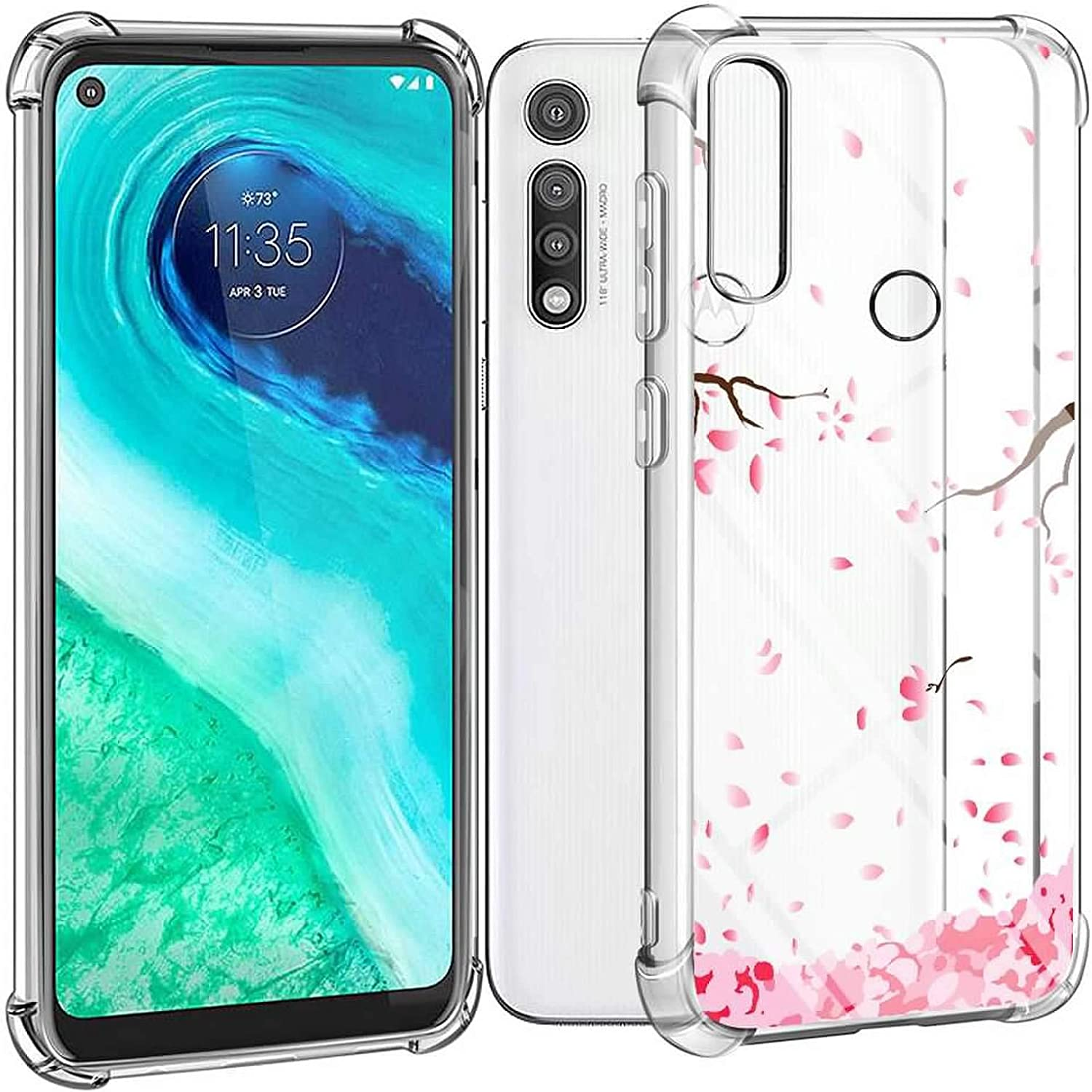 Motorola G Fast Pink Petals Case for Girls Women with Tempered Glass Screen Protector Crystal Clear Shockproof Protective Phone Cover for Motorola Moto G Fast 2020 for Moto G Fast Case 3 in 1