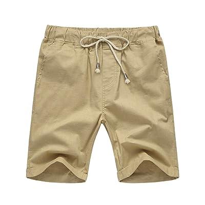 Amazon.com : COOFANDY Men's Cotton Linen Casual Lightweight Elastic Waist Drawstring Shorts : Clothing