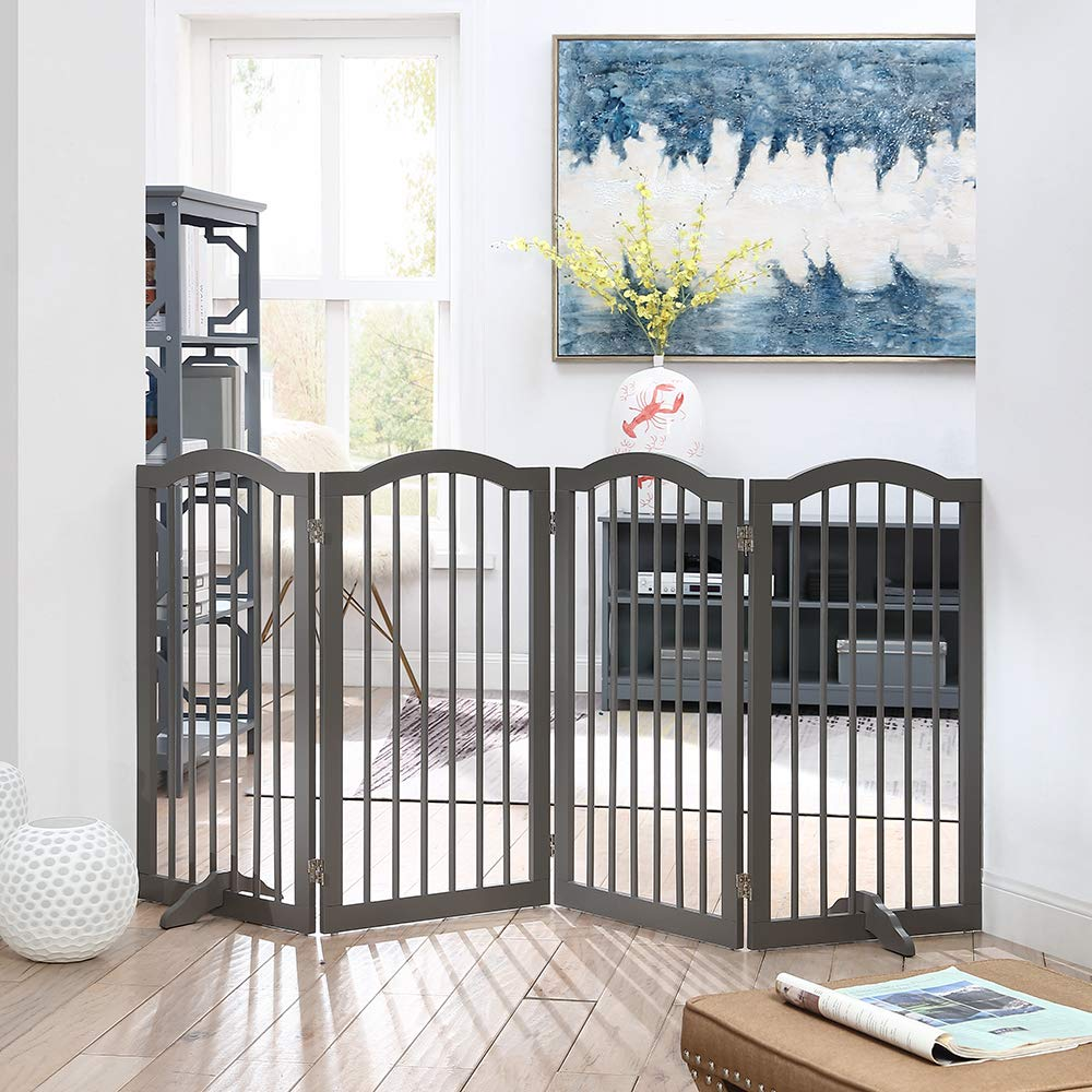 unipaws Freestanding Dog Gate w/2pcs Support Feet, Foldable Pet Gate for Stairs, Pet Gate Panels, Decorative Indoor Pet Barrier with Arched Top | Grey by unipaws (Image #1)