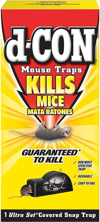 2 Traps d-CON Reusable Ultra Set Covered Mouse Snap Trap