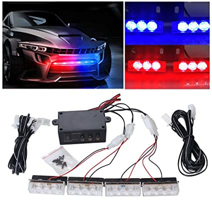 EFORCAR 1pcs 12 LED flash estroboscópico emergencia Light12V coche LED Parrilla delantera / LED Deck Strobe Light Car Styling Modo 3 luces de rociada ...