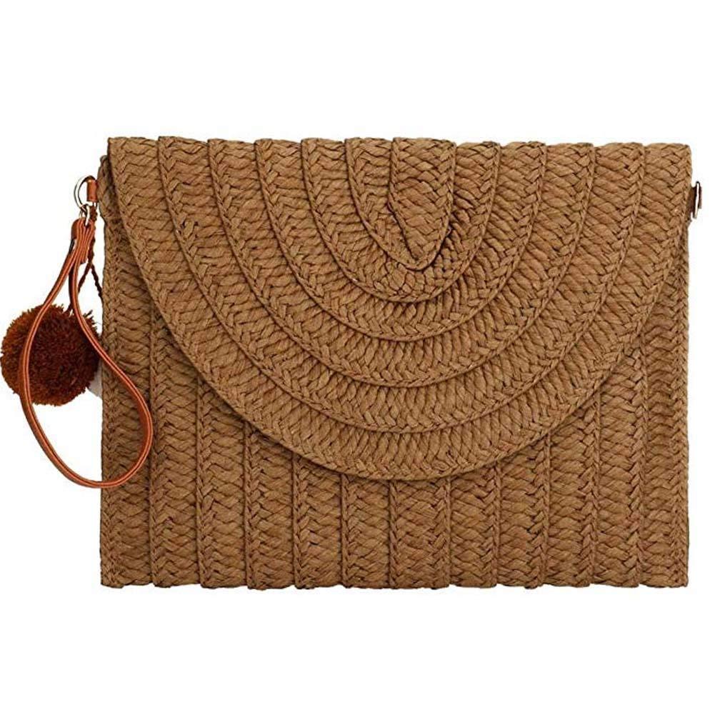 Straw Clutch Handbag Summer...