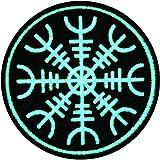 Aegishjalmr Viking El timón de la protección del terror del temor Resplandor en el parche oscuro Bordado de Aplicación con Plancha
