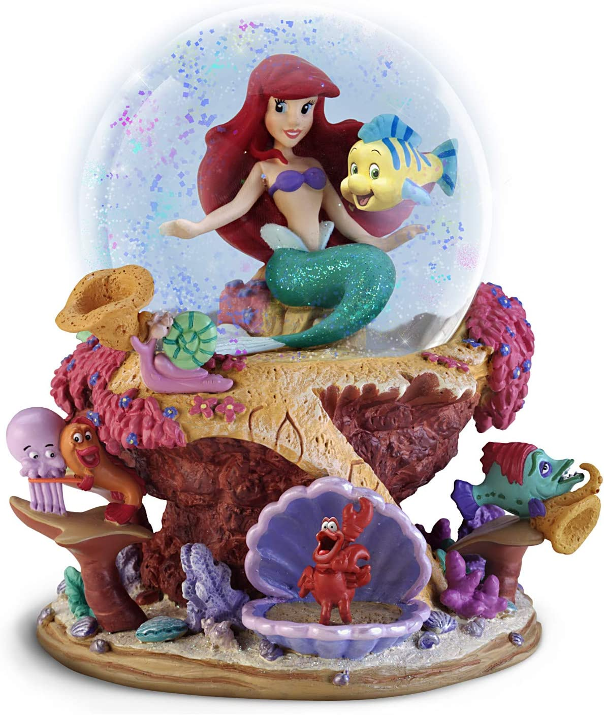 The Bradford Exchange Disney The Little Mermaid Musical Glitter Globe Featuring Ariel and Flounder