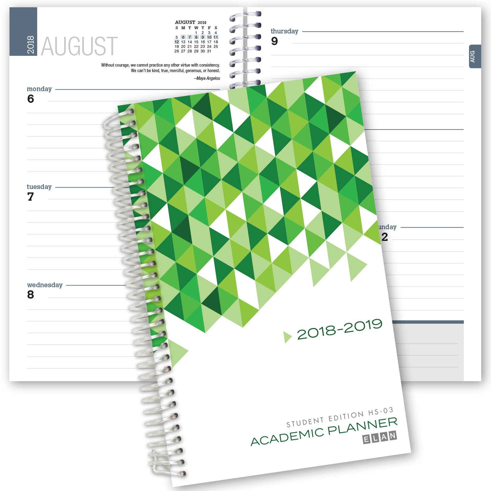 Elan Publishing Company Dated Student Planner for High School of College: August - July Dated for 2018-2019 (HS-03)
