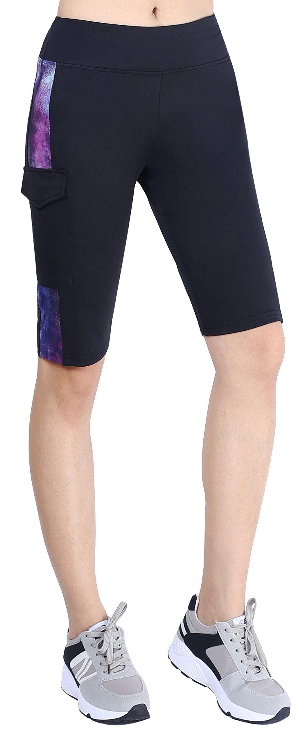 Neonysweets Womens Capri Tights Fitness Running Yoga Pants Leggings Black Printed M