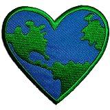 Aufnäher / Bügelbild - Peace on earth - blau - 7,2 x 7,2 cm - Patch Aufbügler Applikationen zum aufbügeln Applikation Patches Flicken