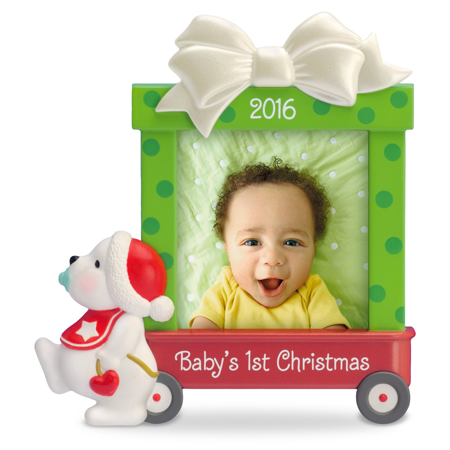 amazoncom hallmark keepsake babys first 2016 beary cute dated picture frame holiday ornament home kitchen