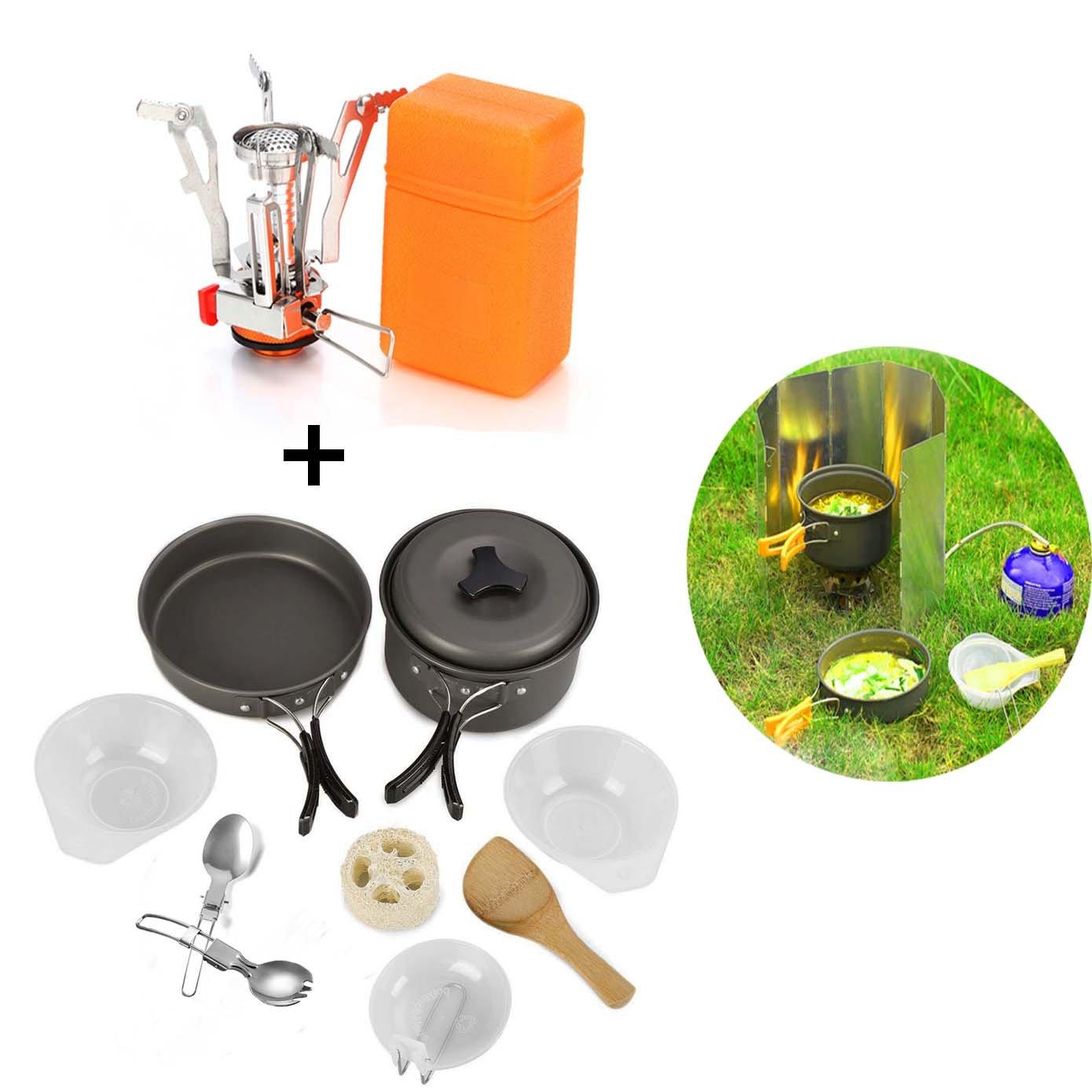 キャンプ調理器具バックパッキングMessキットステンレススチールギア& Hiking Outdoorsバグアウトバッグ調理機器11 Piece Cookset & # xff0 C、軽量、コンパクト、&耐久性ポットパンボウル B077N9CGF9  Camping Set(As Picture)