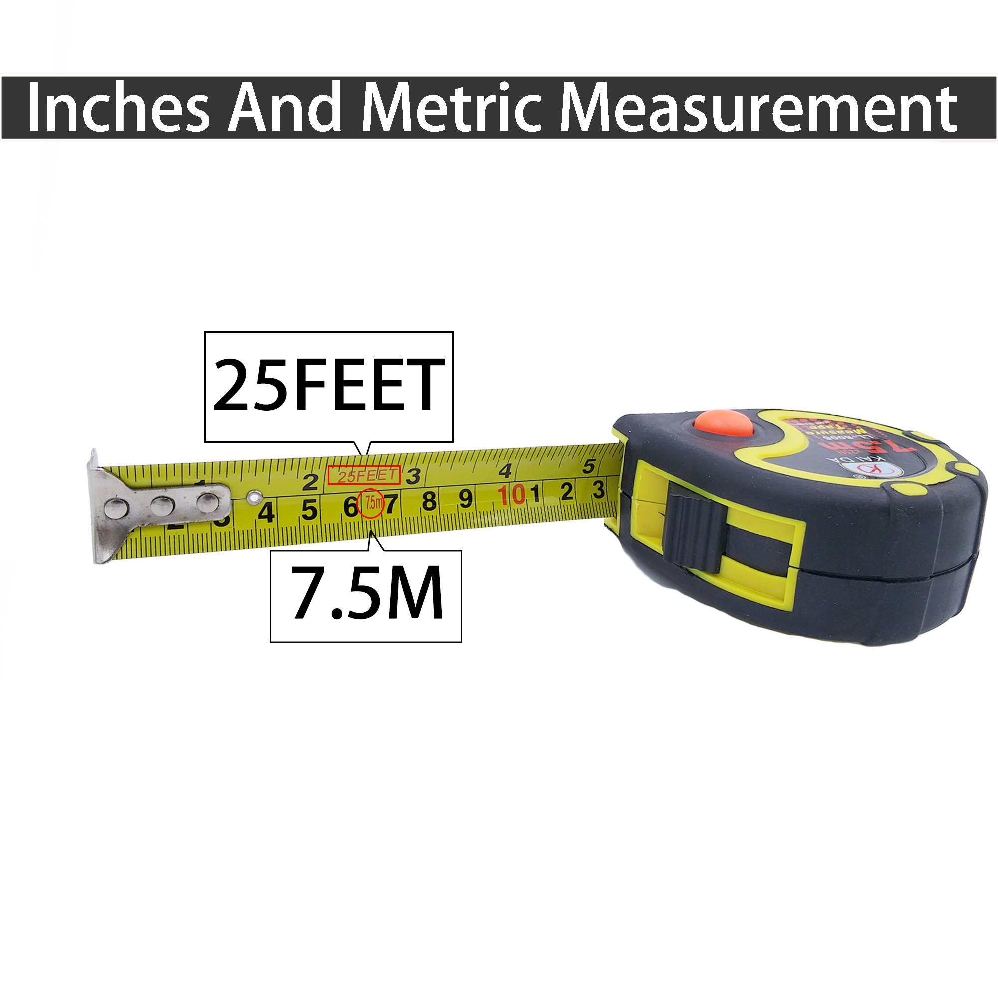 JSHOTS Tape Measure,Inches And Metric Measurement 25ft(7.5m), Tape Measure Retractable,Measuring Tape,Strong Belt Clip,Impact Resistant Rubber Covered Case by JSHOTS (Image #4)