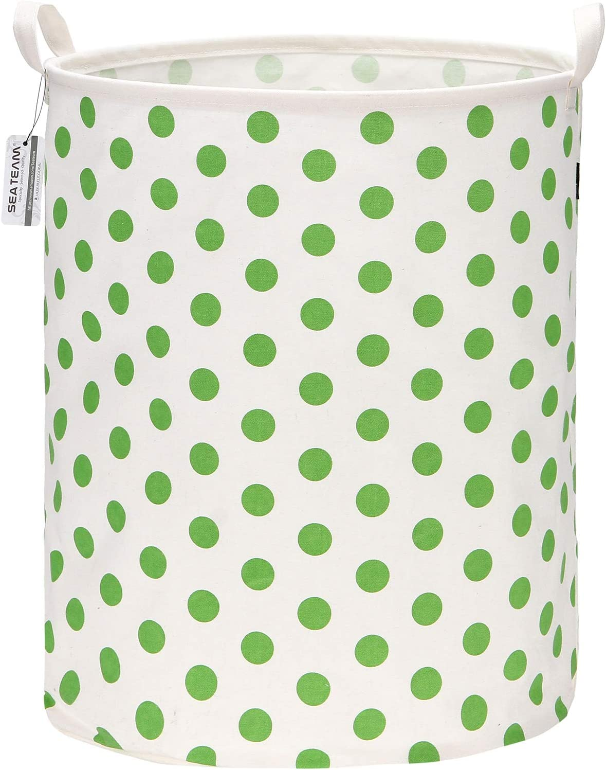 "Sea Team 19.7 Inches Large Sized Waterproof Coating Ramie Cotton Fabric Folding Laundry Hamper Bucket Cylindric Burlap Canvas Storage Basket with Stylish Polka Dot Design (19.7"", Green)"