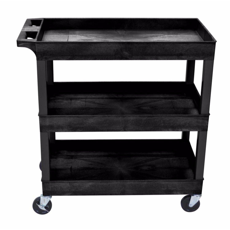 Offex 32''W x 18''D Rolling 3 Shelf Utility Storage Tub Cart - Black