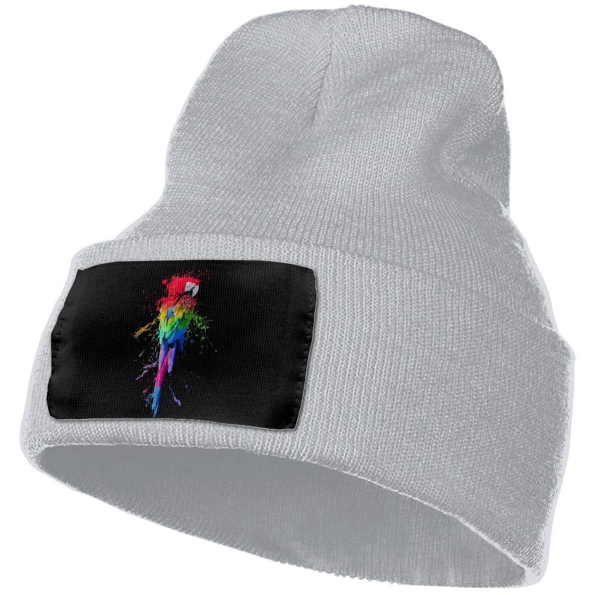 Parrot Color Splash Men/&Women Warm Winter Knit Plain Beanie Hat Skull Cap Acrylic Knit Cuff Hat