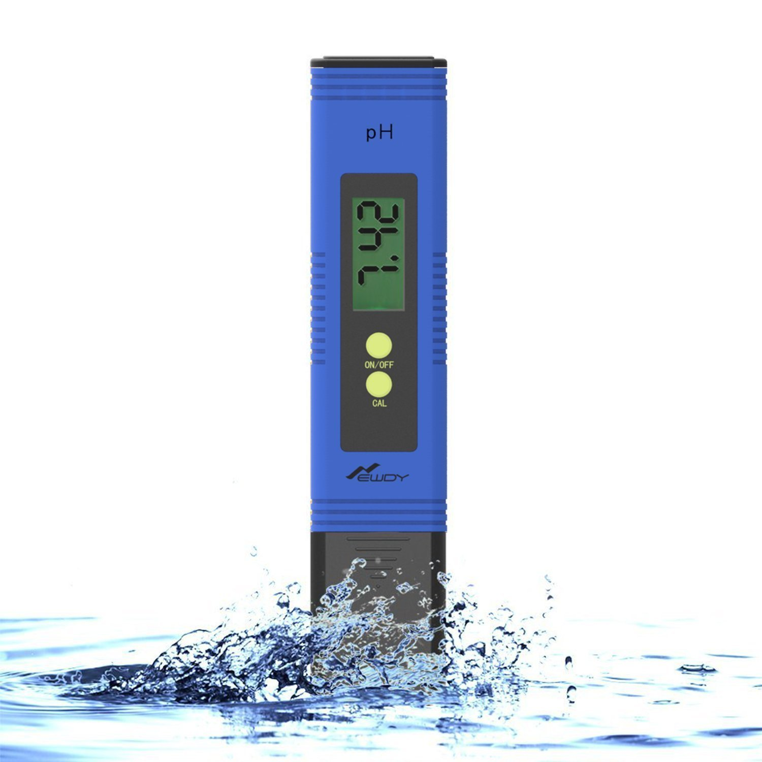 Newdy Digital PH Meter Tester for Water Quality, Food, Aquarium, Pool & Hydroponics,0.01/High Accuracy +/- 0.2 and 0.00-14.00 Measurement Range, Battery Included -Blue by Newdy