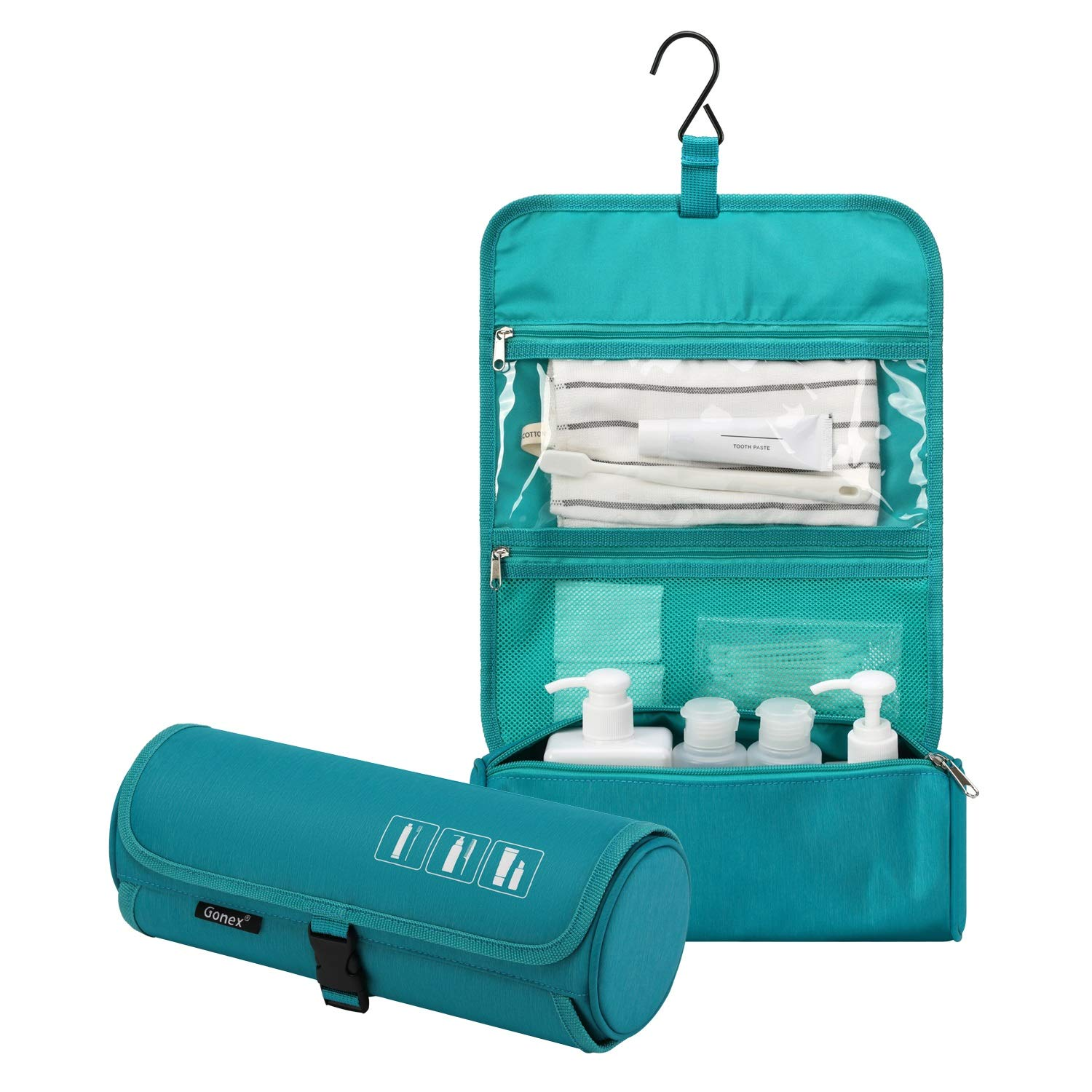 Gonex Hanging Toiletry Bag, Water Resistant Travel Toiletry Organizer Cylinder Makeup Bag for Men Women with Built-in Hook Blue