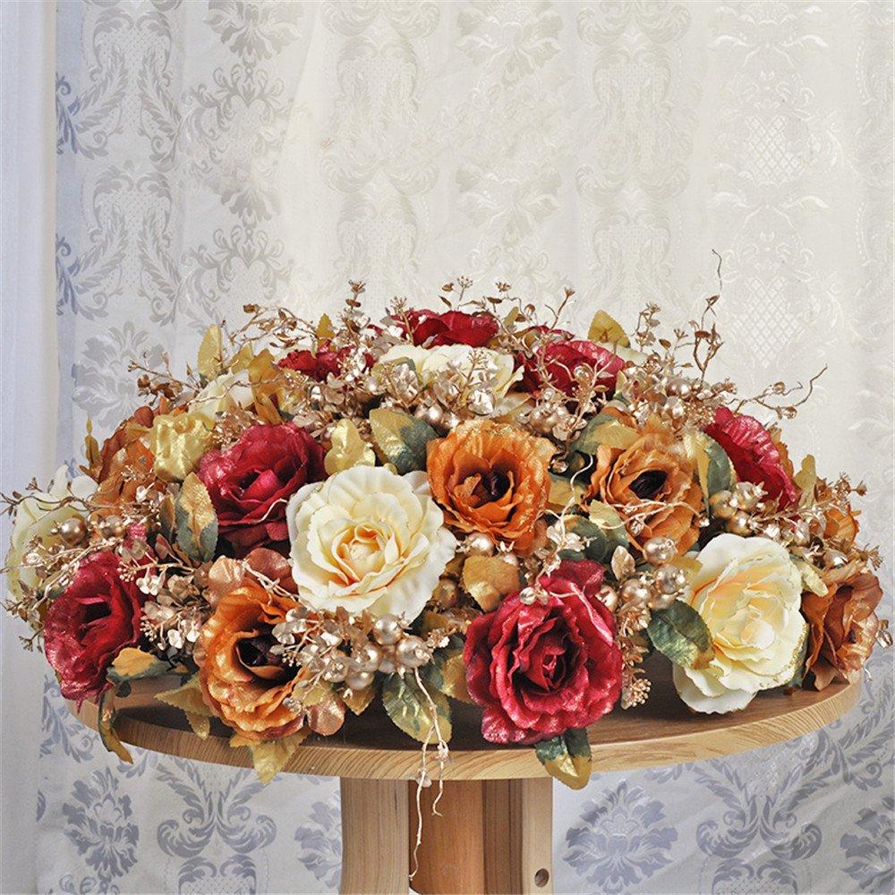 situmi Artificial Flower Largeローズシルク布Phnom Penhセラミック花瓶会議部屋装飾、レッドゴールド70 cm B0713WYGB9