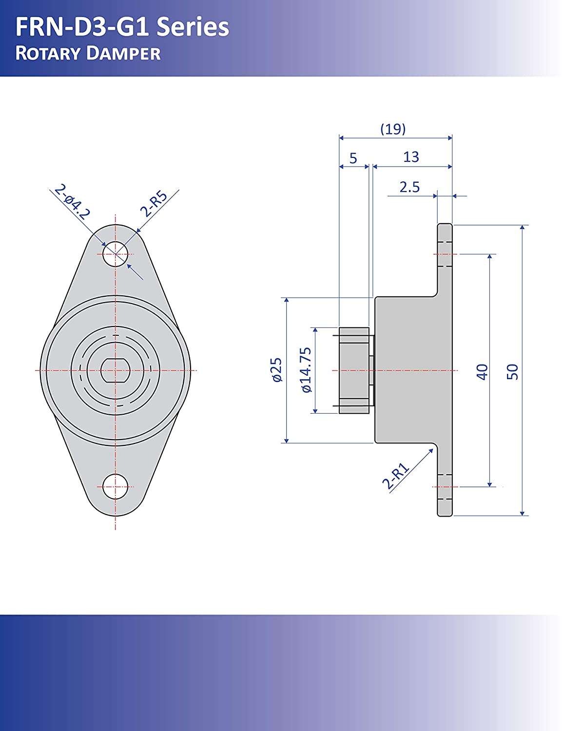 50 mm x 25 mm x 13 mm Bansbach Easylift FRN-D3-L252 G1 Rotary Dampers//Standard