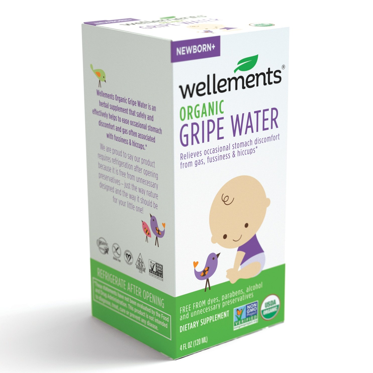 Wellements Organic Gripe Water for Tummy, 4 Fl Oz, 2 Count, Pediatrician Recommended to Ease Infant Stomach Discomfort and Gas