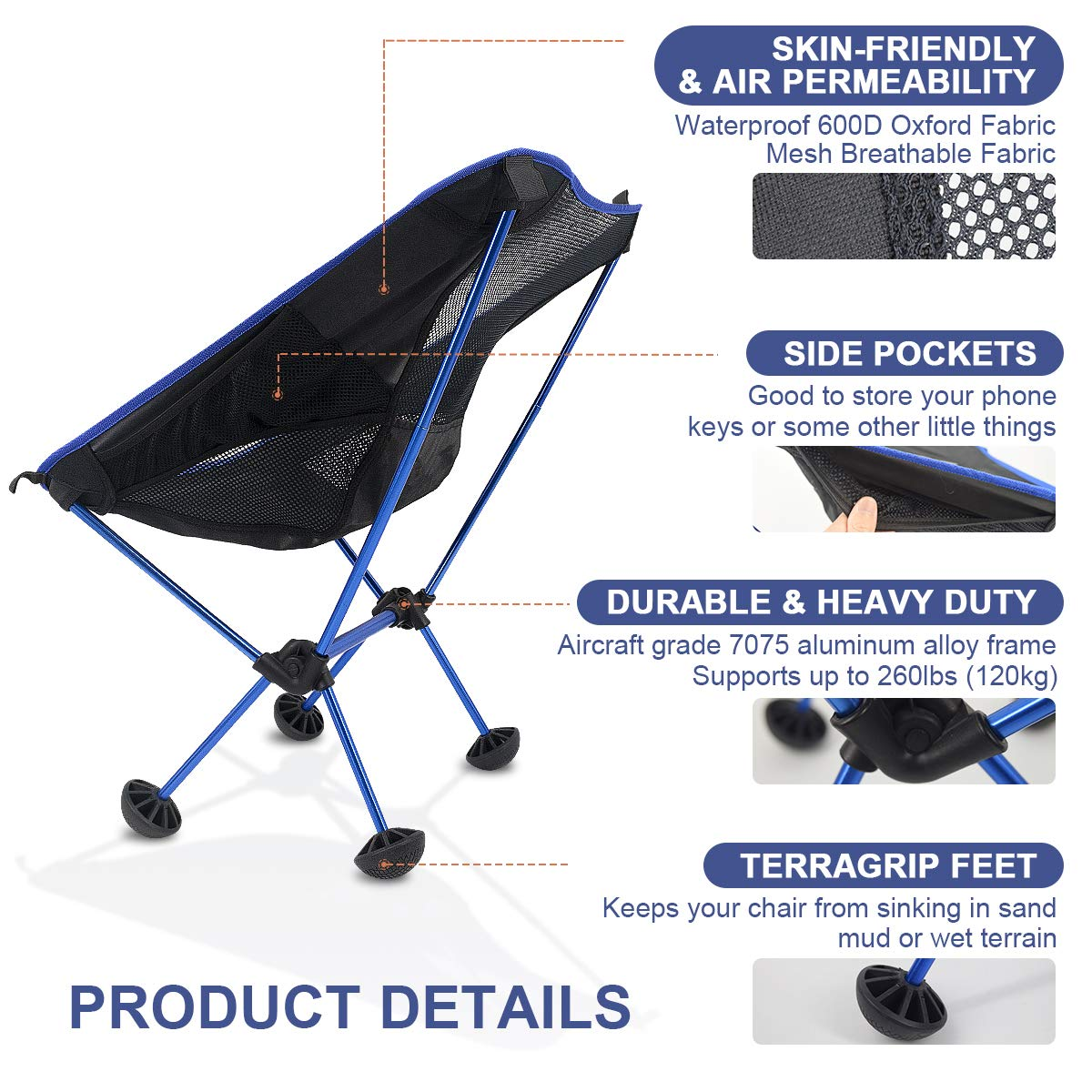 FRUITEAM Camping Chairs Folding Hiking Picnic Portable Camp Chair with Carry Bag for Backpacking Outdoors Sporting