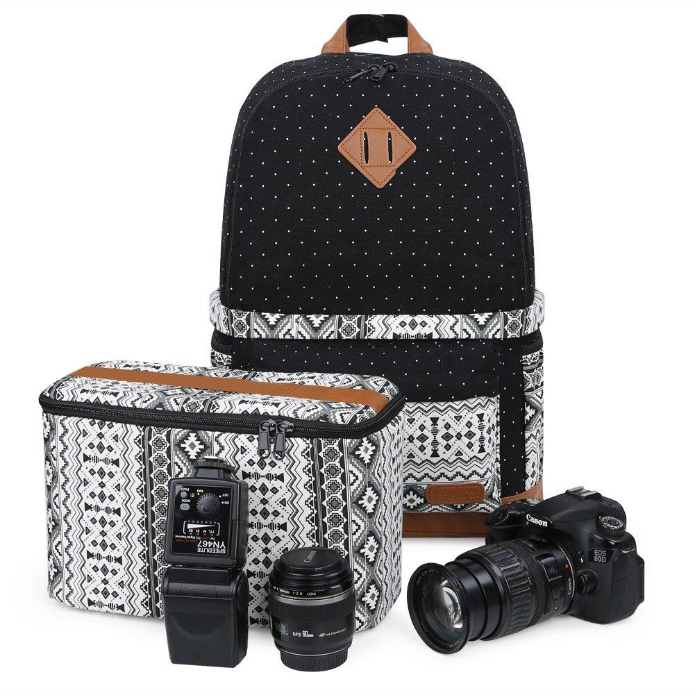 se Adapta a 15.6  Laptop Negro//S/ólido Mochila para C/ámara DSLR con Funda para Lluvia Mochila con Bolsa de Lona para SLR DSLR Canon Nikon Sony