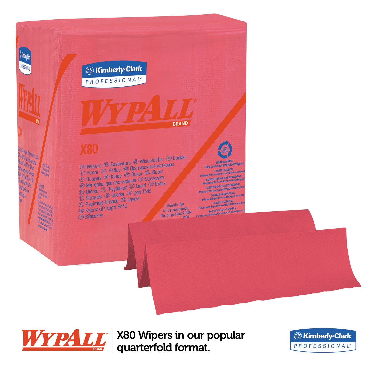 WypAll 41029 X80 Wipers, 1/4 Fold, HYDROKNIT, 12 1/2 x 13, Red, 50/Box, 4 Boxes/Carton