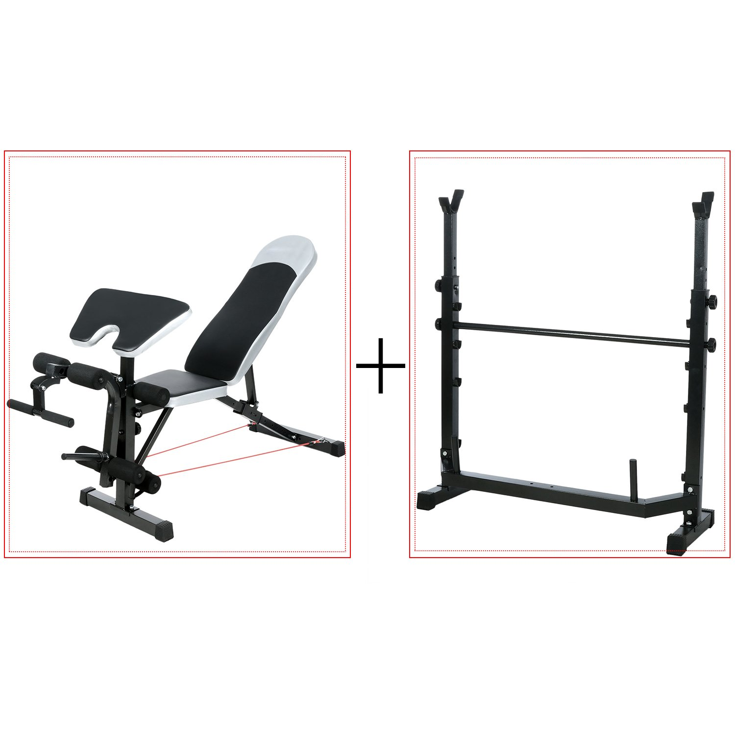 Olympic Weight Bench Adjustable Bench with Barbell Rack by Ultrar sports