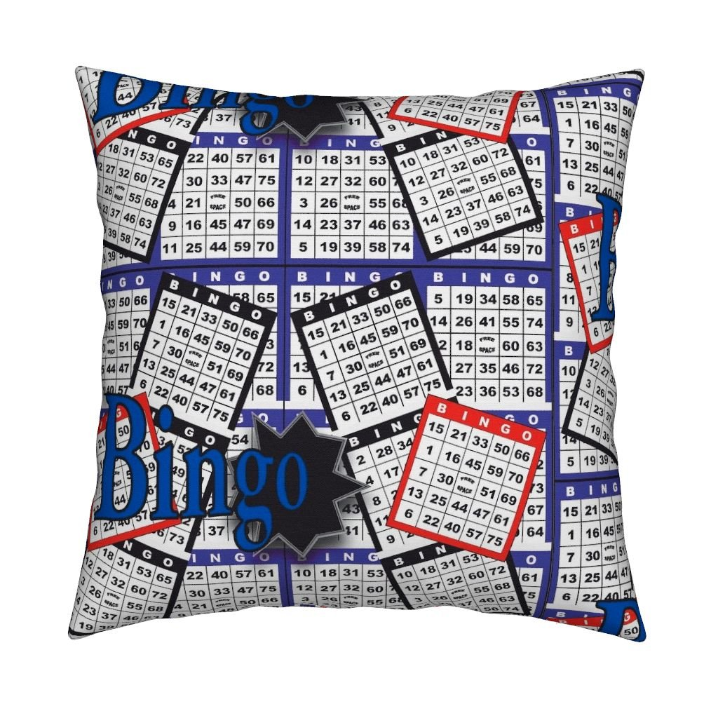 Roostery Bingo Organic Sateen Throw Pillow Cover Bingo Cards by Dd BAZ Cover Only
