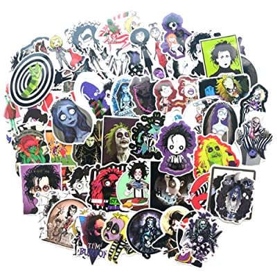 Qweryboo 61 PCS Tim Burton Film Waterproof Stickers, Beetlejuice Edward Scissorhands Skateboard Pad MacBook Laptop Luggage Bike Vinyl Stickers Decal: Toys & Games