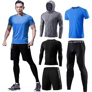 メンズ フィットネストレーニング 加圧シャツ トレーニングウェア メンズ コンプレッションウェア 5点セット スポーツウェア タイツ パーカー ハーフパンツ 半袖 長袖 ランニングウェア 吸汗速乾 姿勢矯正 ブルー 5P-Blue-L