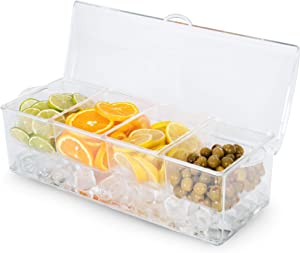 Chilled Bar Top Food & Condiment Dispenser, 4 Tray - Iced Cooled Garnish Station Serving, Bartending, Nacho & Taco Bars, Sundae Bar & Salad Prep - Topping Organizer, Restaurant Supplies & Accessories
