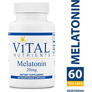 Vital Nutrients - Melatonin 20 mg - Supports The Bodys Natural Sleep Cycle - 60 Capsules