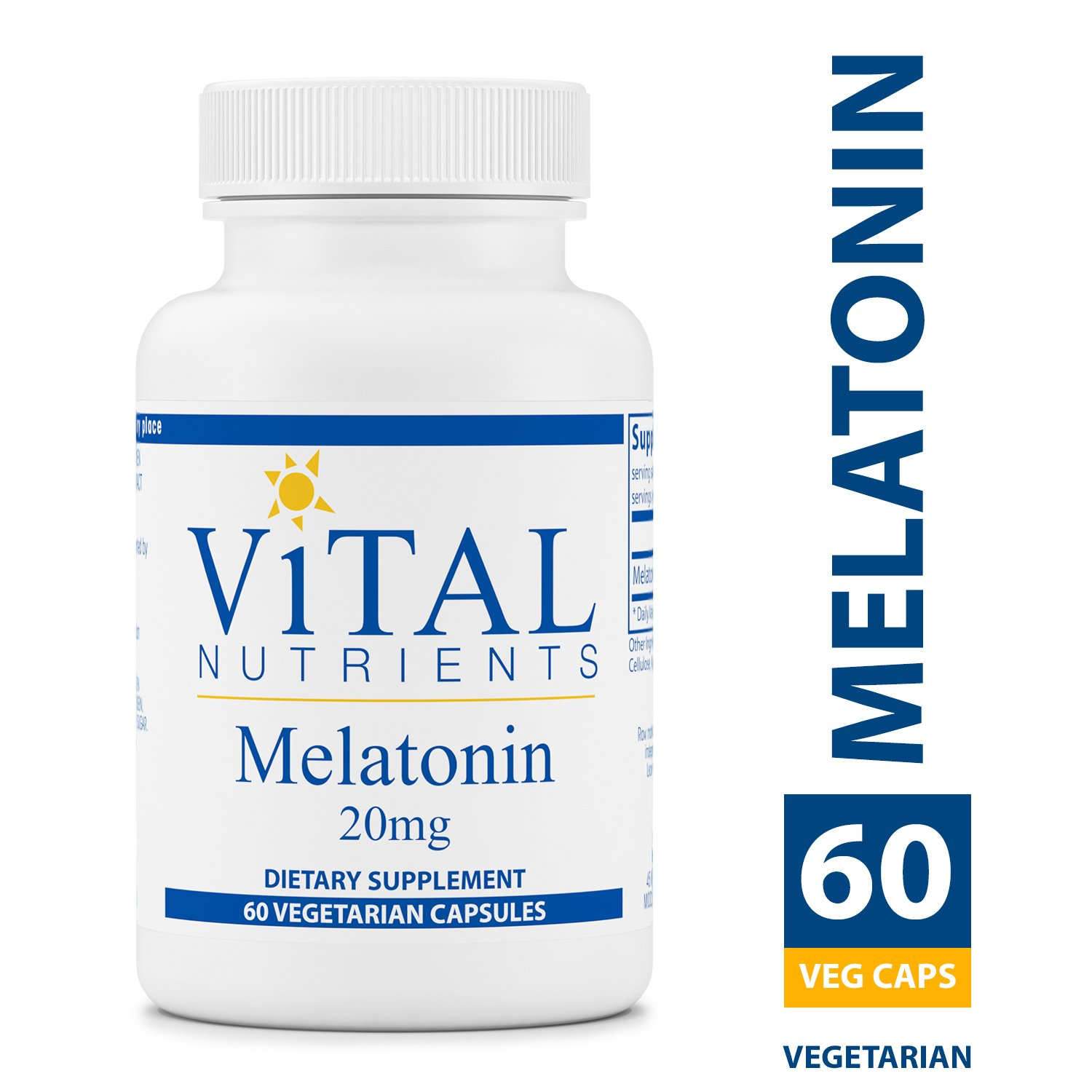 Vital Nutrients - Melatonin 20 mg - Supports the Body's Natural Sleep Cycle - 60 Capsules per Bottle by Vital Nutrients