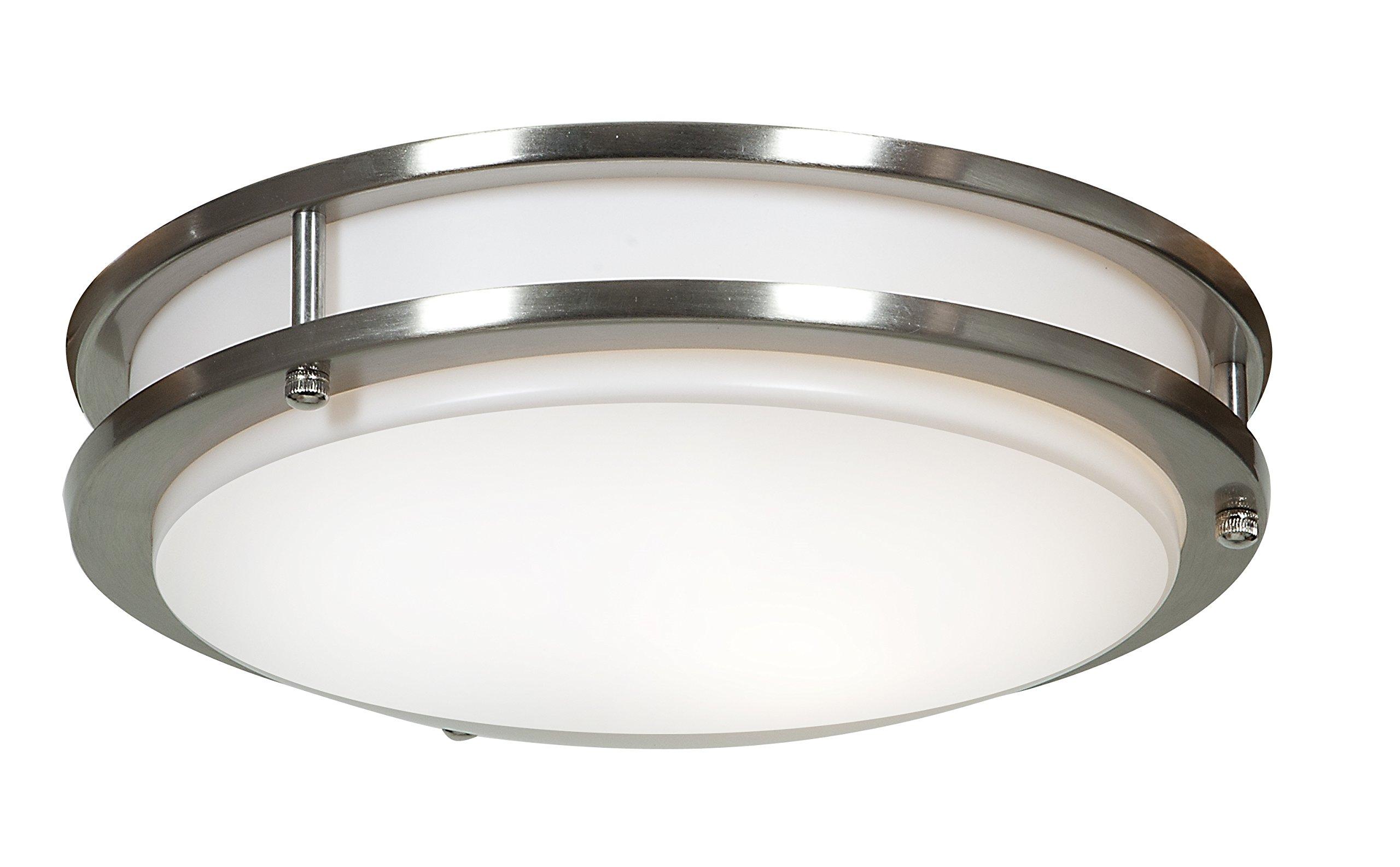 Solero Flush Mount - LED - 12''D - Brushed Steel Finish - Acrylic Lens Diffuser