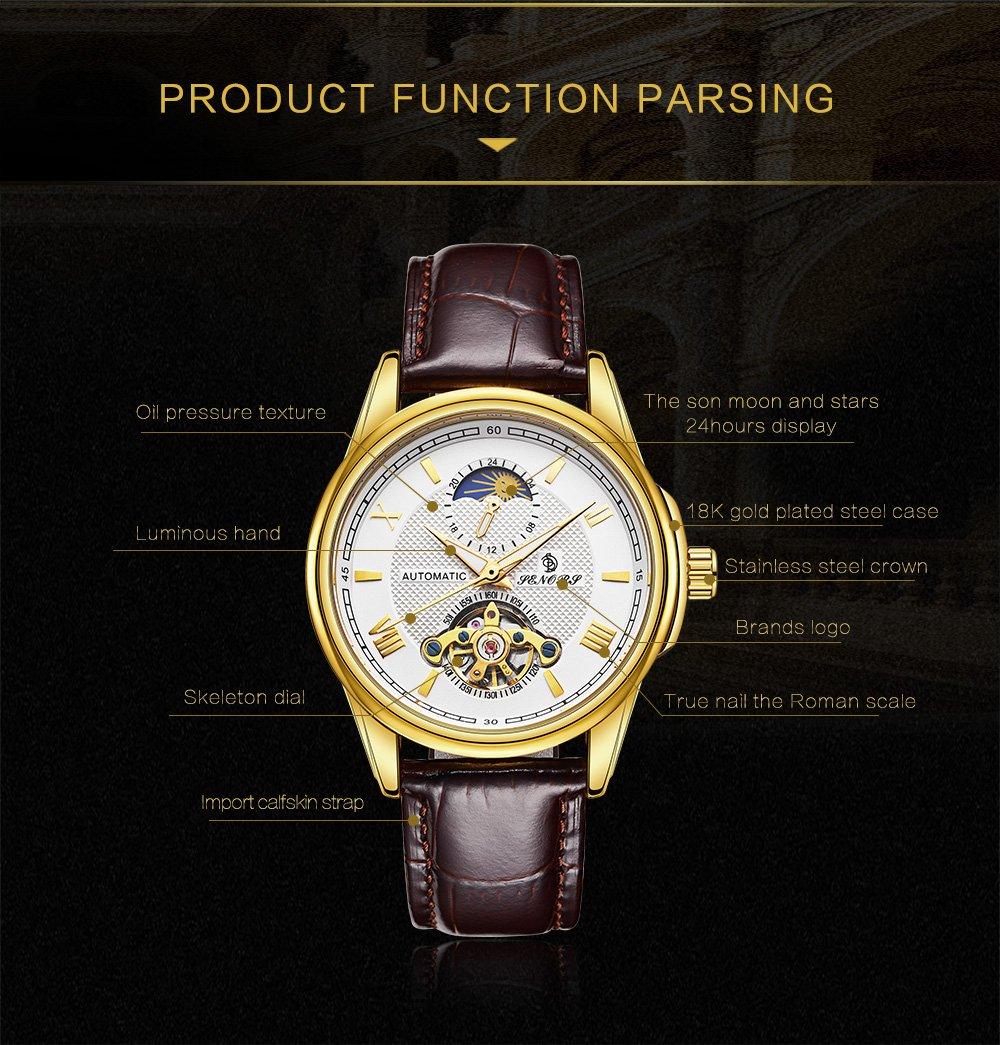Mäns mekaniska automatiska klockor äkta läderband vattentät armbandsur män avslappnad affärsklocka lyx mode armbandsur för män b