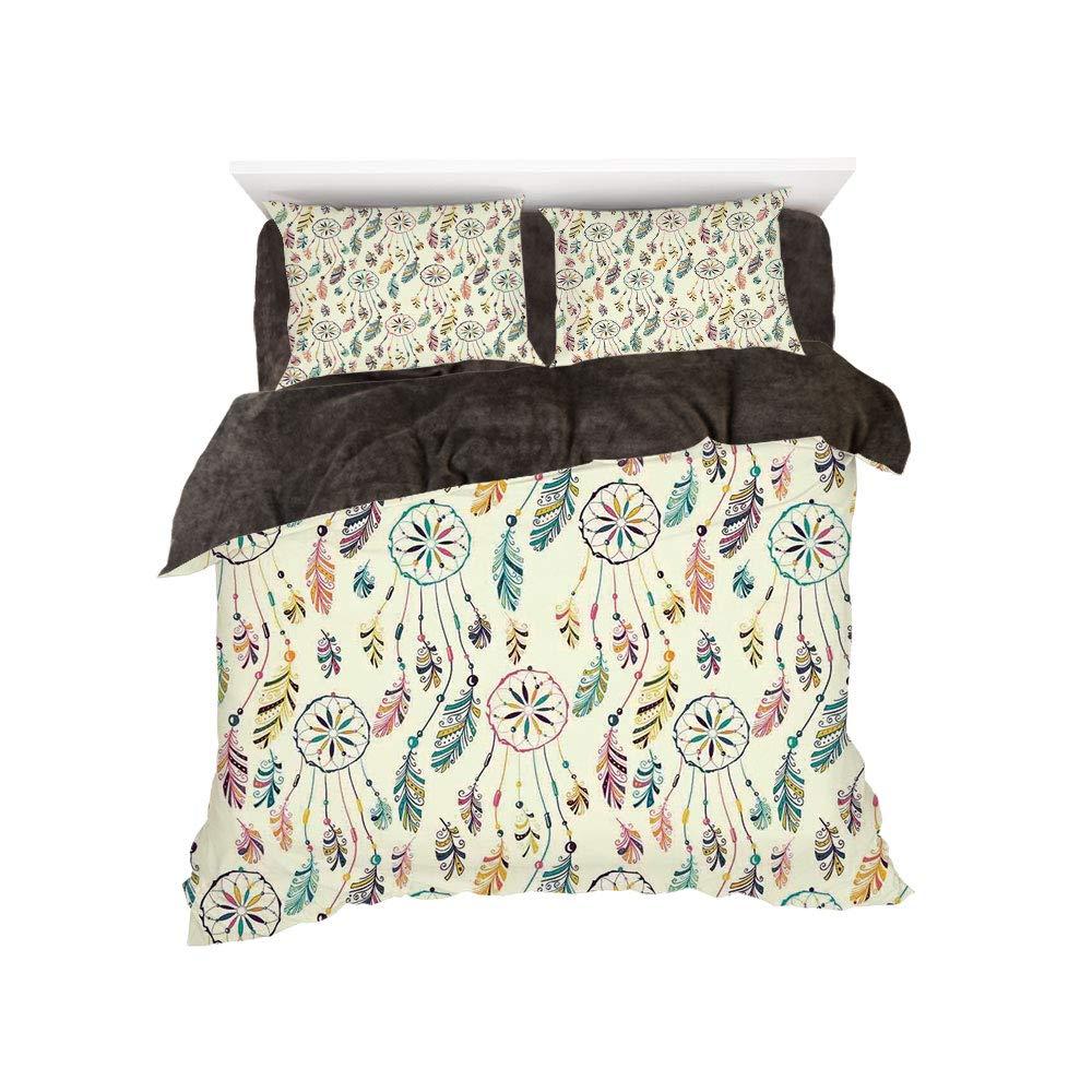 フランネル布団カバー4点セット ベッドリネン 冬休み ネイティブアメリカン 古代ボーダー エスニック 部族のシンボル アンティークデザイン タイルパターンプリント コーラルティールブラック bed width 6ft(180cm) BotingFLR_hei_13891_king 180 B07L1WD7Q9 カラー11 bed width 6ft(180cm)