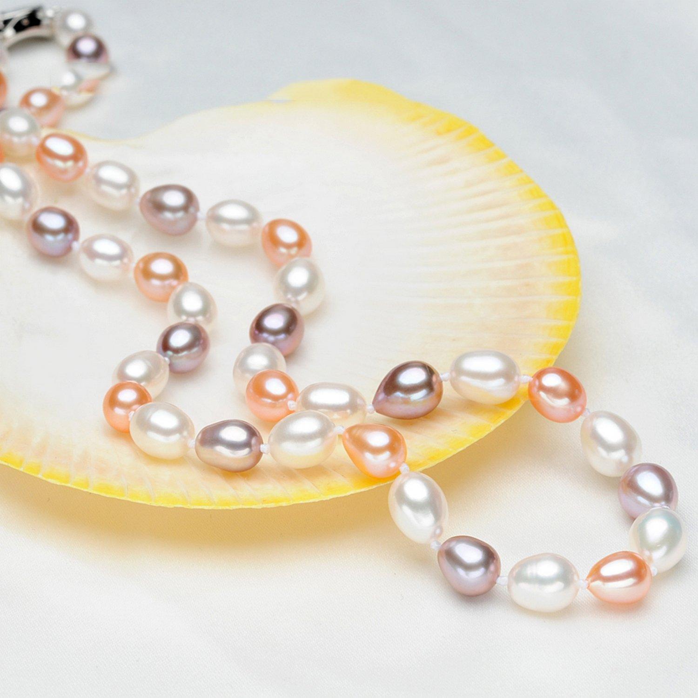 MMC Multicolor Choker Pearl Silver Pendants Necklaces
