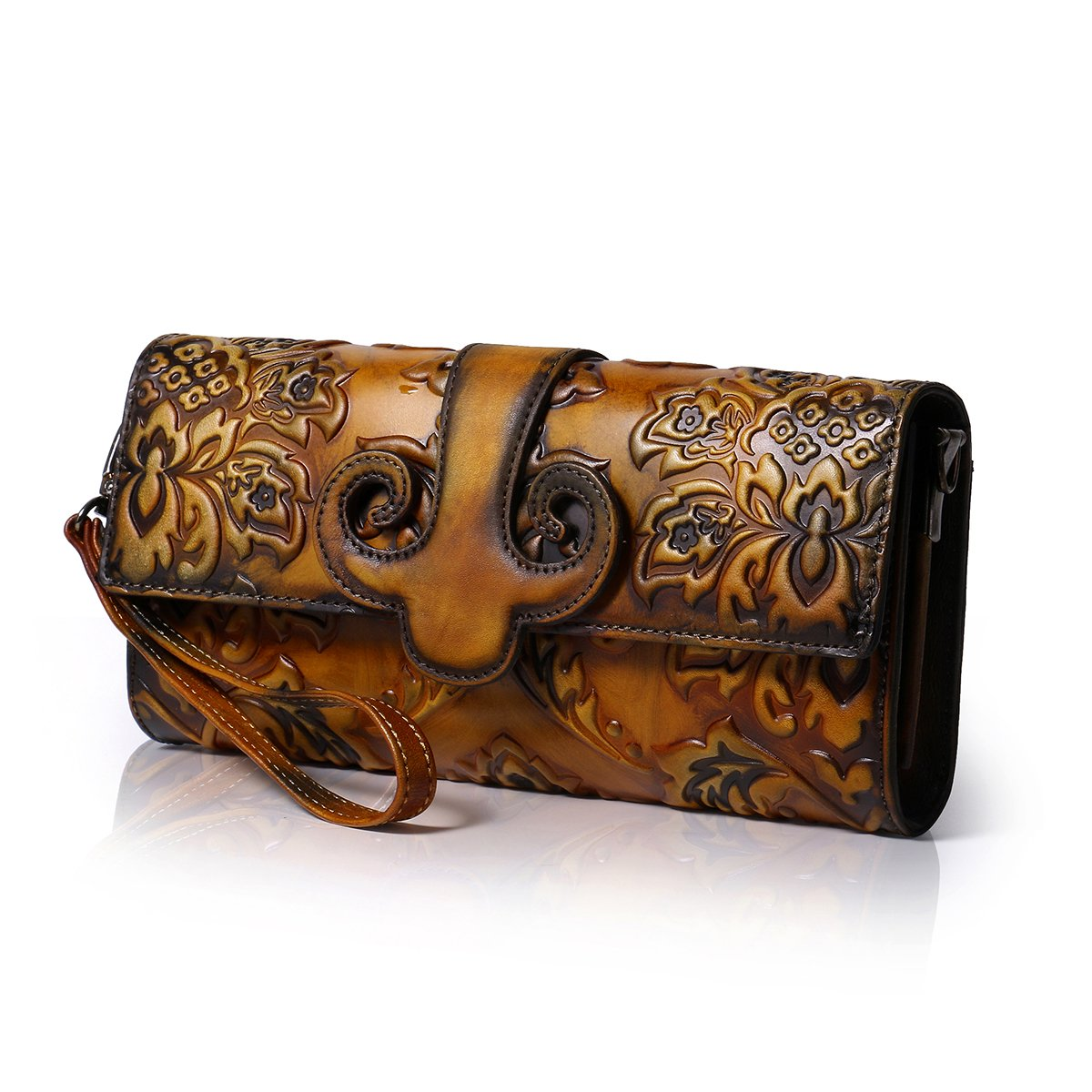 APHISON Designer Unique Chinese style Embossed Floral Women's Leather Zipper Shoulder Bags Hand Bags Wallets (BROWN)