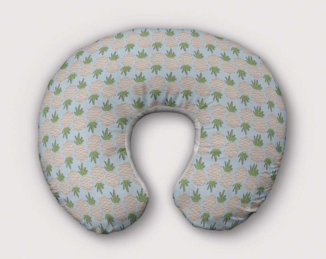 Pineapple Nursing Pillow Slipcover Tropical Nursery Baby Handmade w/100% NonToxic USA Cotton/Minky