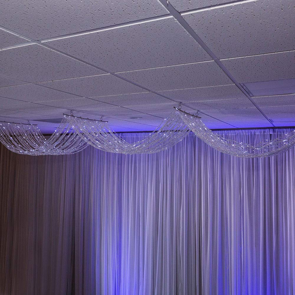 Event Decor Direct 15FT. Crystal Ceiling Draping Panel W/Led Lights - Pure White - 36'' Wide