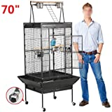 Yaheetech Pet Bird Cage Play Top Parrot Cockatiel Cockatoo Parakeet Finches with Rolling Stand 62''/70''