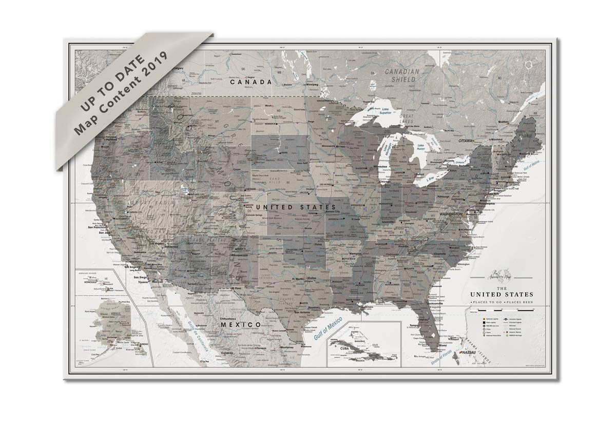 Us Map Pin Board Amazon.com: USA Map Pin Board Poster | US Pin Map for travellers