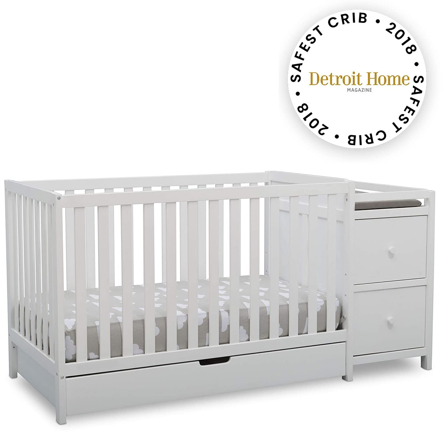 Delta Children Heartland Convertible Crib and Changer with Drawer, Bianca White