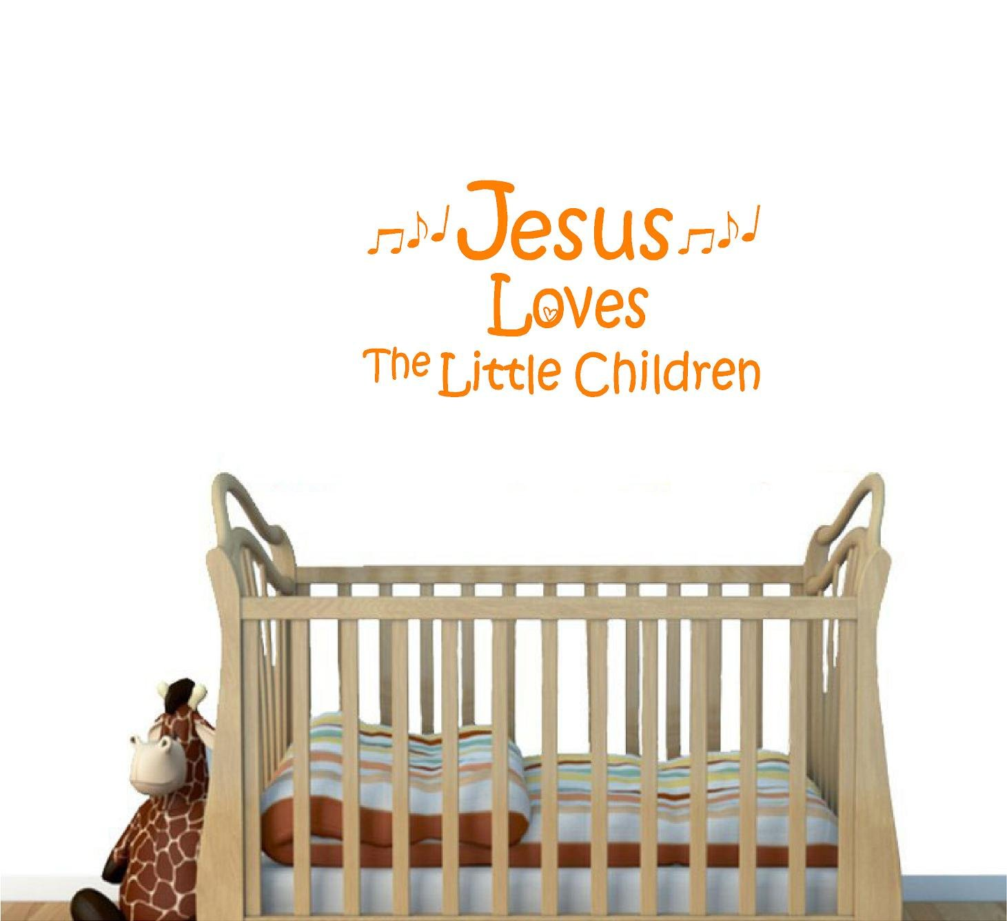 Jeyfel Decals: Vinyl Wall Decor Decal Sticker. Christian. Jesus Loves the Little Children (Orange 22''W X 12'' H)