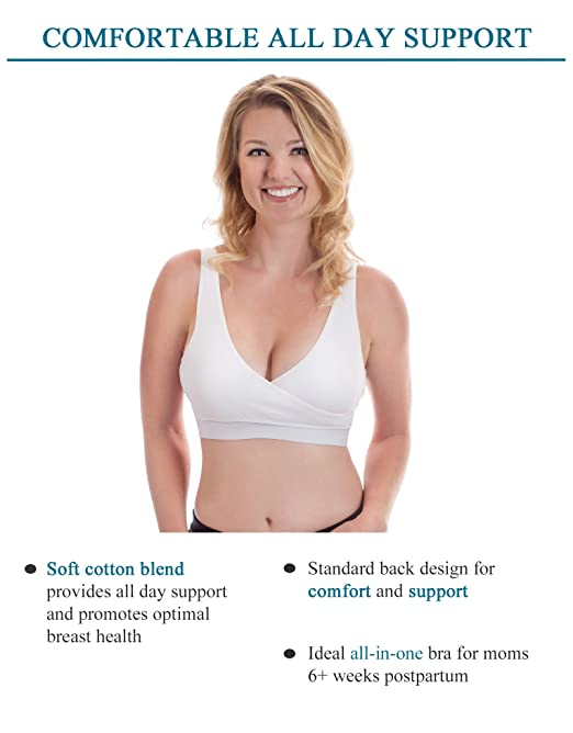Amazon.com : Its Back! Classic Pump&Nurse Nursing Bra with built-in Hands-Free Pumping Bra and adjustable back clasp - White, M : Baby