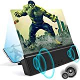 """3D Phone Screen Magnifier with Bluetooth Speakers 12"""" Anti-Blue Light Cell Phone Projector Amplifier with Foldable Holder Sta"""